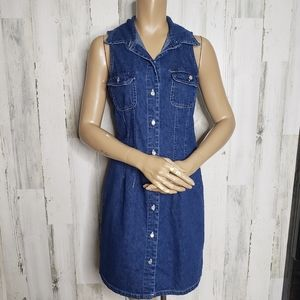 Vintage  Medium Wash Button Up Sleeveless Dress M